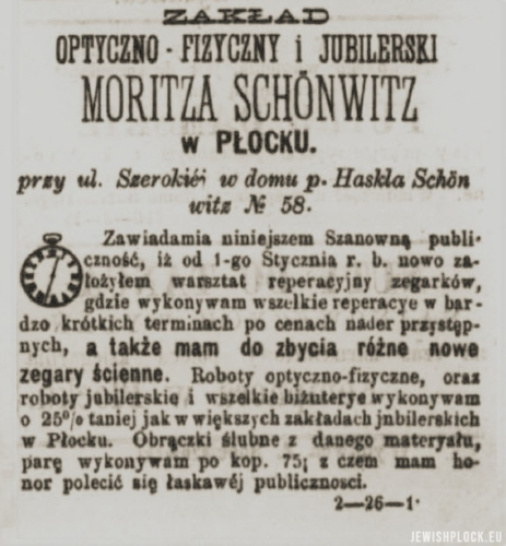 "Advertisement of the Optician and Jewelery Company of Moritz Szenwic in the pages of ""Korespondent Płocki"""